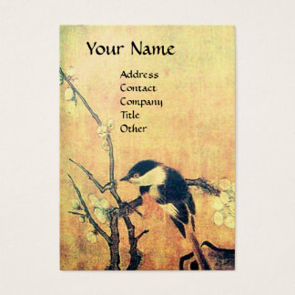 SPRING BIRD ON A FLOWER TREE brown yellow Business Card