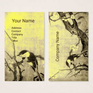 SPRING BIRD ON FLOWER TREE Brown Yellow Floral Business Card