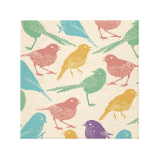 Spring Bird Pattern in Blue, Green, Purple, Orange Canvas Print