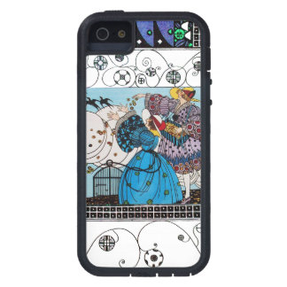 SPRING BIRDS AND SWIRLS / FASHION COSTUME DESIGNER COVER FOR iPhone 5