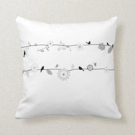 Spring Birds - Black and White Throw Pillow