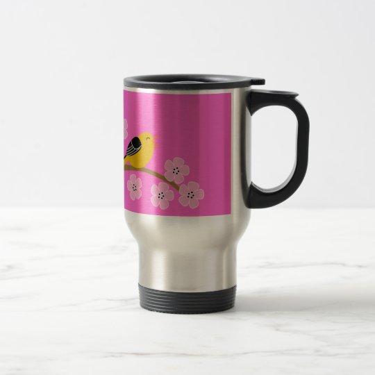 Spring birds & cherry  blossoms travel mug