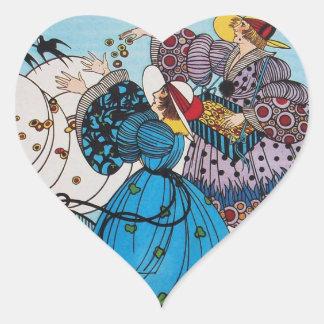 SPRING BIRDS / FASHION COSTUME DESIGNER HEART HEART STICKER