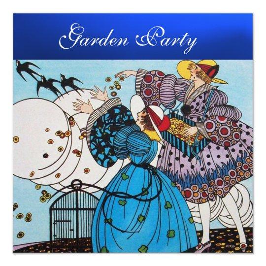 SPRING BIRDS GARDEN PARTY ,Blue Sapphire Card