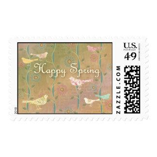 Spring Birds Happy Spring Stamp