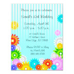 """Spring Birthday Party Invitation Colorful Flowers 4.25"""" X 5.5"""" Invitation Card"""