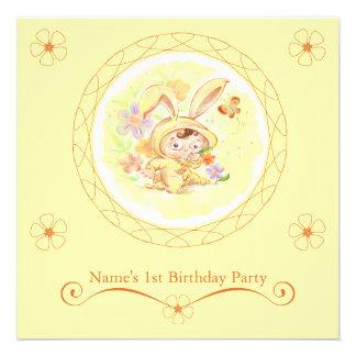 Spring Birthday Party Rabbit Illustration Invite