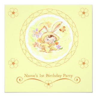 "Spring Birthday Party Rabbit Illustration 5.25"" Square Invitation Card"