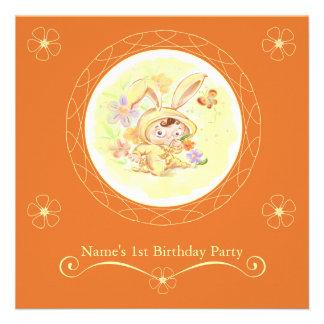 Spring Birthday Party Rabbit Illustration Custom Invite