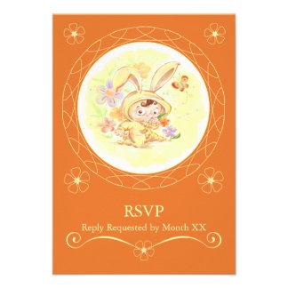 Spring Birthday Party Rabbit Illustration RSVP Personalized Invitations