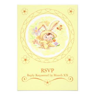 Spring Birthday Party Rabbit Illustration RSVP Custom Invite