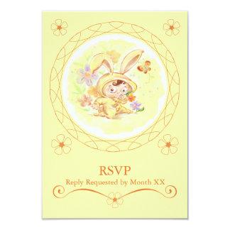 "Spring Birthday Party Rabbit Illustration RSVP 3.5"" X 5"" Invitation Card"