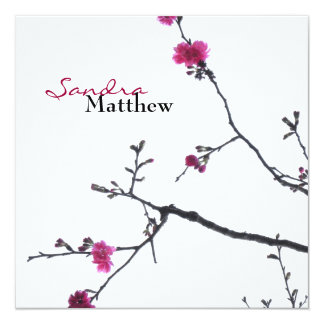 "Spring Bliss/Blossoming Cherry Tree Wedding 5.25"" Square Invitation Card"