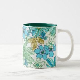 Spring bloom - blue Two-Tone coffee mug