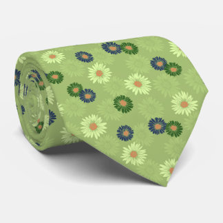 Spring Blooms Daisy Floral Green Two-sided tie