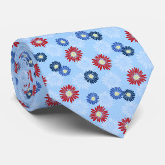 Spring Blooms Daisy Floral Sky Blue Two-sided Tie
