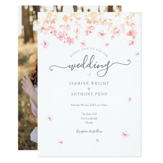 Spring Blossom Floral Your Photo Wedding Invitation