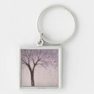 Spring Blossom II Silver-Colored Square Keychain