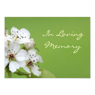 """Spring Blossom Memorial Service Funeral Invitation 5"""" X 7"""" Invitation Card"""