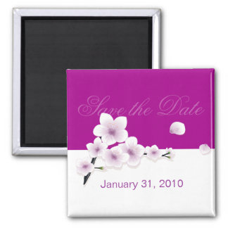 Spring Blossom Save The Date Wedding Announcement 2 Inch Square Magnet