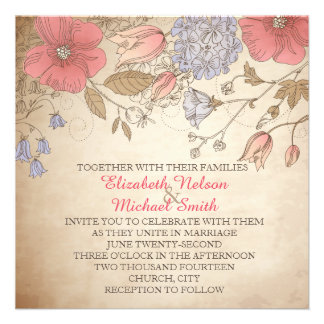Spring Blossom Wildflowers Wedding Invite