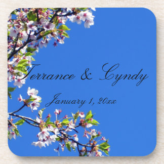 Spring Blossoms and Sky Personal Wedding Coaster
