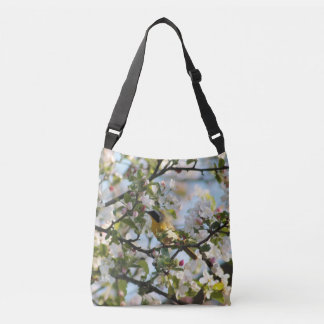 Spring blossoms and Warbler Crossbody Bag