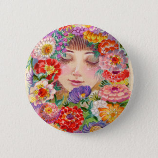Spring Blossoms Contentment Illustration Pinback Button