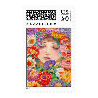 Spring Blossoms Contentment Illustration Postage
