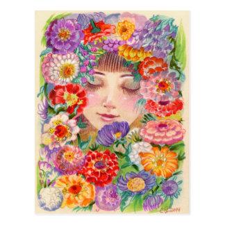 Spring Blossoms Contentment Illustration Postcard