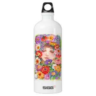 Spring Blossoms Contentment Illustration Water Bottle