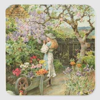 Spring Blossoms, from the Pears Annual, 1902 Square Sticker