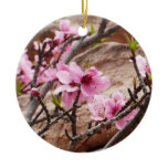 Spring Blossoms on Zion Red Rocks Ceramic Ornament