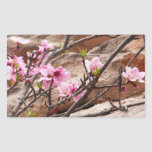 Spring Blossoms on Zion Red Rocks Rectangular Sticker