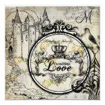 """Spring Blossoms Unconditional Love Wedding Invite 5.25"""" Square Invitation Card"""