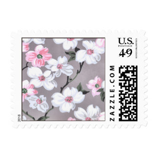 Spring Blossoms Vintage Floral Wallpaper Pattern Postage