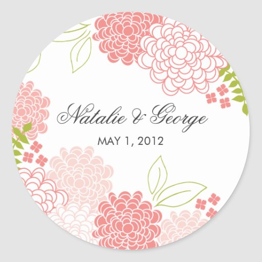Spring Blossoms Wedding Favor Sticker
