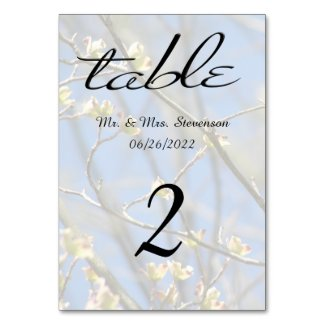 Spring Blossoms with Black Name and Date Table Card
