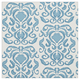 Spring blue and white damask fabric