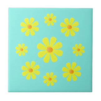 Spring blue and yellow, yellow flowers for kitchen tile