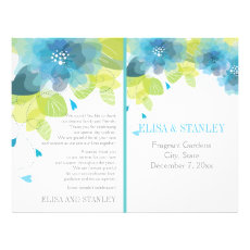 Spring blue flowers floral wedding program 8.5