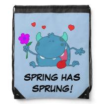 Spring Blue Monster Drawstring Backpack