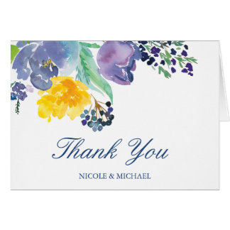 Spring Blue Yellow Watercolor Flowers Thank You Card
