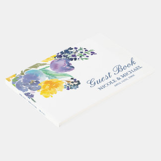 Spring Blue Yellow Watercolor Flowers Wedding Guest Book