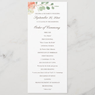Spring Blush and Peach Watercolor Floral Program