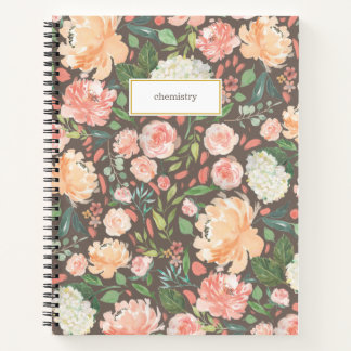 Spring Blush and Peach Watercolor Floral Subject Notebook