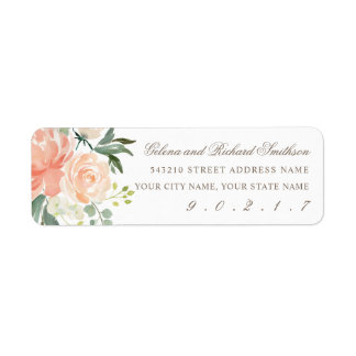 Spring Blush and Peach Watercolor Florals Address Label