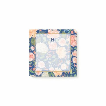 Professional Business Spring Blush and Peach Watercolor Florals Monogram Post-it Notes