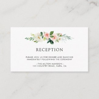 Spring Blush Floral Wedding Reception Enclosure Card