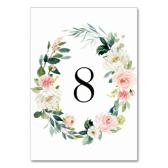 Spring Blush Floral Wreath Wedding Table Number